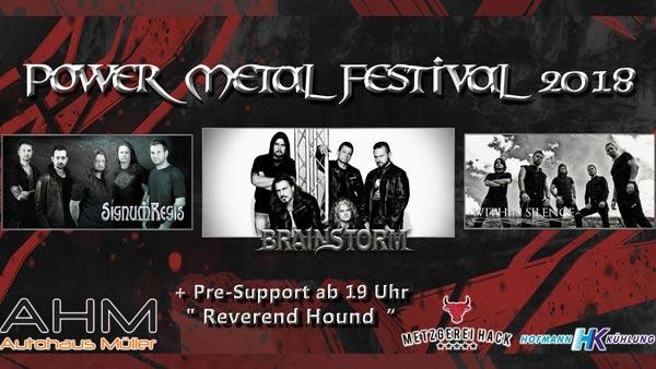 Ein Banner für das Power Metal Festival 2018