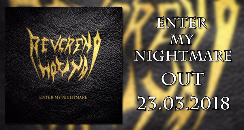 Ein Banner mit dem Veröffentlichungstermin der neuen Reverend Hound EP Enter My Nightmare