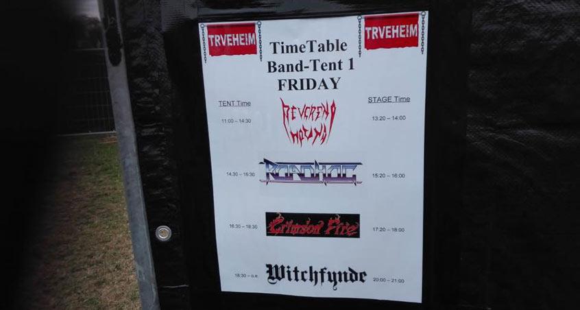 Der Zeitplan für die Nutzung des Backstagezeltes auf dem Trveheim 2018