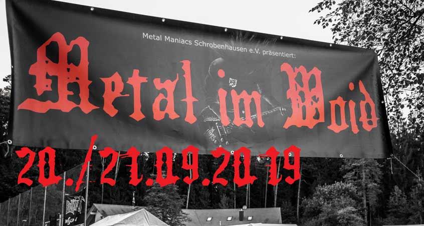 Das Banner des 2019 stattfindenden Metal im Woid-Festivals