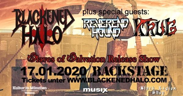 Ein Plakat für die Release-Party des ersten Blackened Halo-Albums im Münchner Backstage